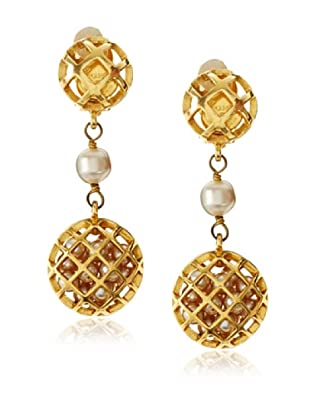 CHANEL Faux Pearl Cage Earrings