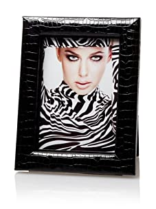 """Tribeca Croc Embossed Faux Leather 5"""" x 7"""" Photo Frame (Black)"""