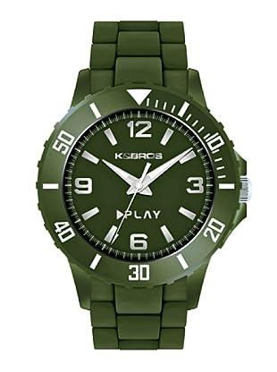 K&BROS 9561-6 / Reloj de Caballero  con correa de caucho Verde