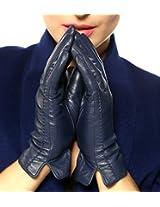 WARMEN Classic Women's Geniune Leather Winter Warm Gloves Simple Sytle (XL, Cyan)