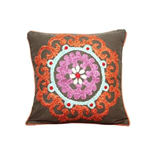 R Home Round Motif Embroidered Cushion Cover 40x40 CM