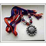 Ganesha Thread necklace in orange n blue