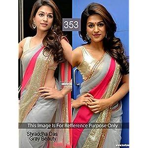 Designer Georgette Grey Samantha Party Wear Sari Saree Lehenga TM46