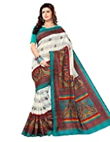 Sangam Saree Womens Tusser Blue Cottan Patta Print Saree