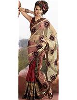 Hemp and Crimson Sari with Embroidery, Sequins, Beads and Gota Border