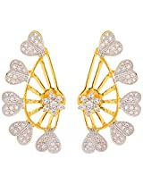 JFL- Heavenly Gold Designer Earcuff studded with Cz /American Diamonds for Girls and Women