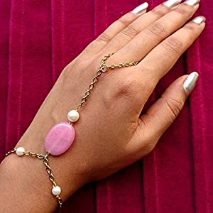 No Strings Attached Pink Stone Motif Pearl Haathphool