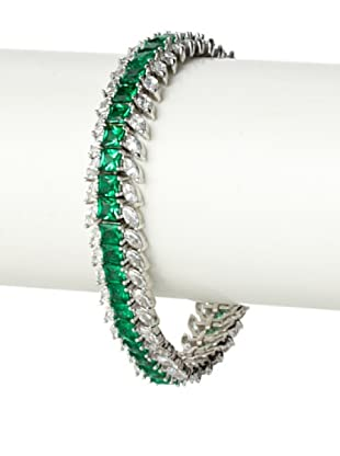 CZ by Kenneth Jay Lane Emerald Green Princess-Cut Bracelet
