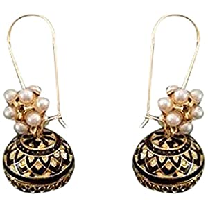 The Desi Soul Meenakari Black Jhumkas