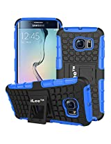 iLee Premium Kickstand Hybrid Back Cover for Samsung Galaxy S6 Edge Plus- Color: Blue (12 Months Warranty)