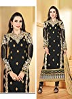 Faux Georget Embroiderd Resham Embroidery Black Anarkali Suits - Bfmf36009