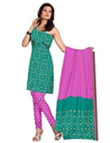 Kala Sanskruti Women's Cotton Silk Blend Sea-Green Dress Material