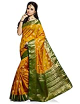 Meghdoot Artificial Silk Saree (VIVAAH_MT1278_MUSTARDxBOTTLEGREEN Woven Mustard and Green Colour Sari)