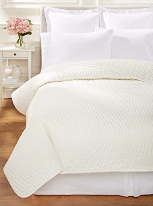 Sateen Quilted Coverlet (Ivory)