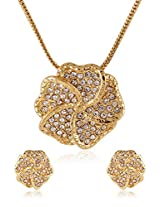 Estelle Gold Plated Necklace Set With Crystals (8541)