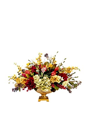 Creative Displays Gold & Burg Floral in Gold Urn, 34x29x36