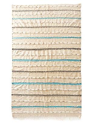 Vintage Berber Wedding Rug, Creme/White/Black/Turquoise, 5' 2