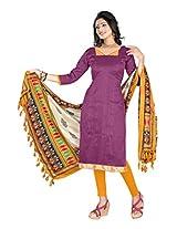 Khushali Presents Art Silk Chudidar Dress Material(Wine,Yellow)