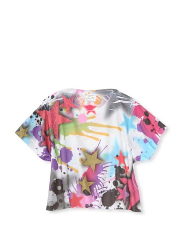 Purple Orchid Girl's Abstract Star Cropped Tee (Multi)