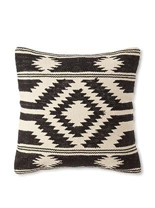 La Boheme Cotton Tribal Cushion, Off-White/Black, 16