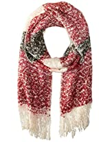 La Fiorentina Women's Soft Striped Knit Scarf, Red Combo, One Size