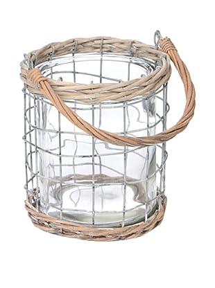 Skalny Medium Round Wire, Rope, Glass Lantern