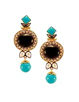 Habors Gold Plated Turquoise and Black Ahana Beautiful Earrings