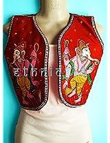 EthniChic Hand painted Ganesha Jacket/ Waist Coat