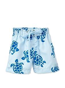 Azul Swimwear Boy's Turtles Boardshorts (Light Blue)