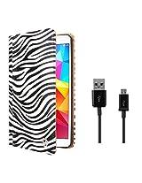 VG Zebra Print Mary Portfolio Multi Purpose Book Style Slim Flip Cover Case for Samsung Galaxy Tab4 T330/T331 8.0 (White) + Data Cable