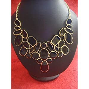 Black Bib Collar Necklace