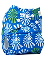 Bumberry Pocket Style Cloth Diaper (Blue Flowers On White Print) + One Microfiber Insert
