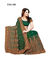 Green Bridal Wear Zari Sequins Booti Work Georgette Sari EHS