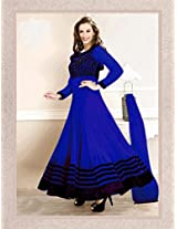 Evelyn sharma Blue Embroidered Ankle length anarkali suit