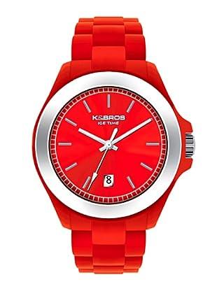 K&BROS 9549-3 / Reloj Unisex con correa de caucho Rojo