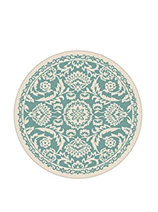 Universal Rugs Garden City Indoor/Outdoor Transitional Rug, Aqua, 8' Round