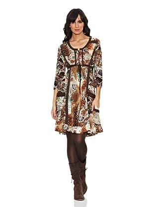 Janis Vestido Estampado Bolsillos (Marrón)
