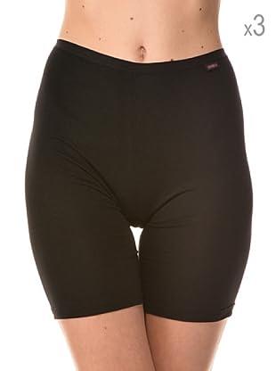 Anyma by Cotonella Pack 3 Pantalones Cortos Interiores Bielástico Extra Fino (Negro)
