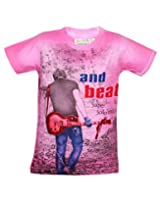 Tonyboy Boy's Cotton Spray Print Pink Short Sleeved T-shirt
