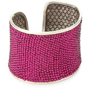 "Deanna Hamro Atelier 2"" Hand -Woven ""Lulu"" Ruby-Color Pave Cuff Bracelet"