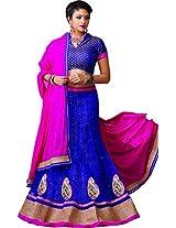 Melluha Women's Net Lehenga Choli(ml-0058_Blue_Free Size)