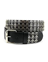 NYfashion101 Triple Row Peace Sign Studded Removable Roller Buckle Belt S