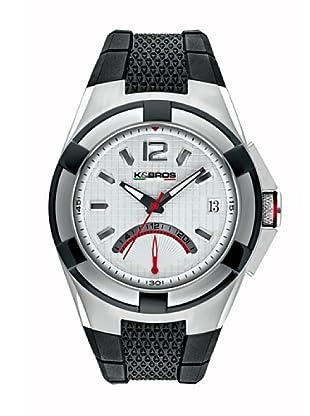 K&BROS 9440-2 / Reloj de Caballero con correa de caucho Plateado