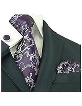 "Landisun 281 Floral Pattern Mens Silk Tie Set: Tie+Hanky+Cufflinks Dark Purple, 3.25""Wx59""L"