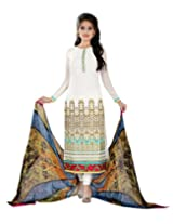 Lookslady Embroidered White Georgette Dress Material