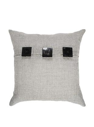 Hessian Linen Lounge Pillow, Black/Taupe, 21