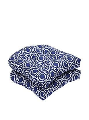 Pillow Perfect Set of 2 Indoor/Outdoor Ring A Bell Navy Wicker Seat Cushions, Blue