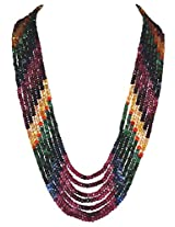 Gehna 7 Rows of Emerald Ruby Sapphire Gemstone Round Faceted Bead Necklace
