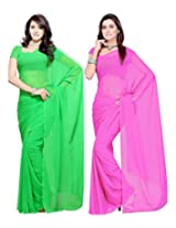 B & H FASHIONS Pink and Green Color Pure Georgette Saree Combo Of 2