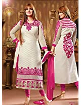 Rozdeal Womens Cotton Anarkali Unstitched Dress Material (Rda139-2805 _White)